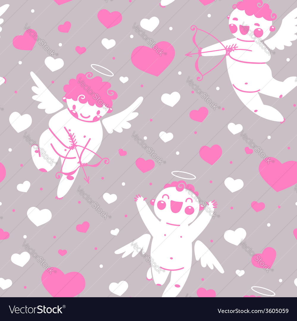 Valentines Day romantic seamless pattern with cute