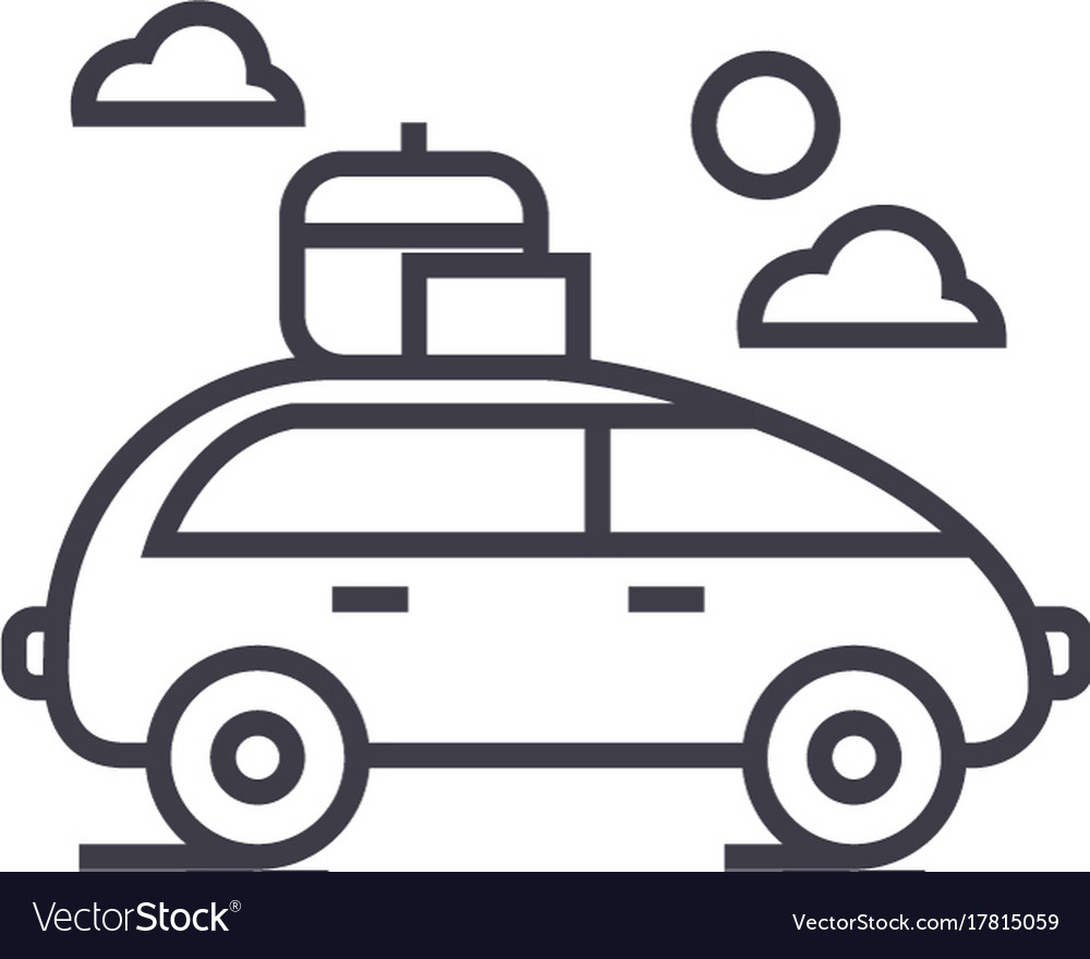 Vehicle travel family car line icon sign