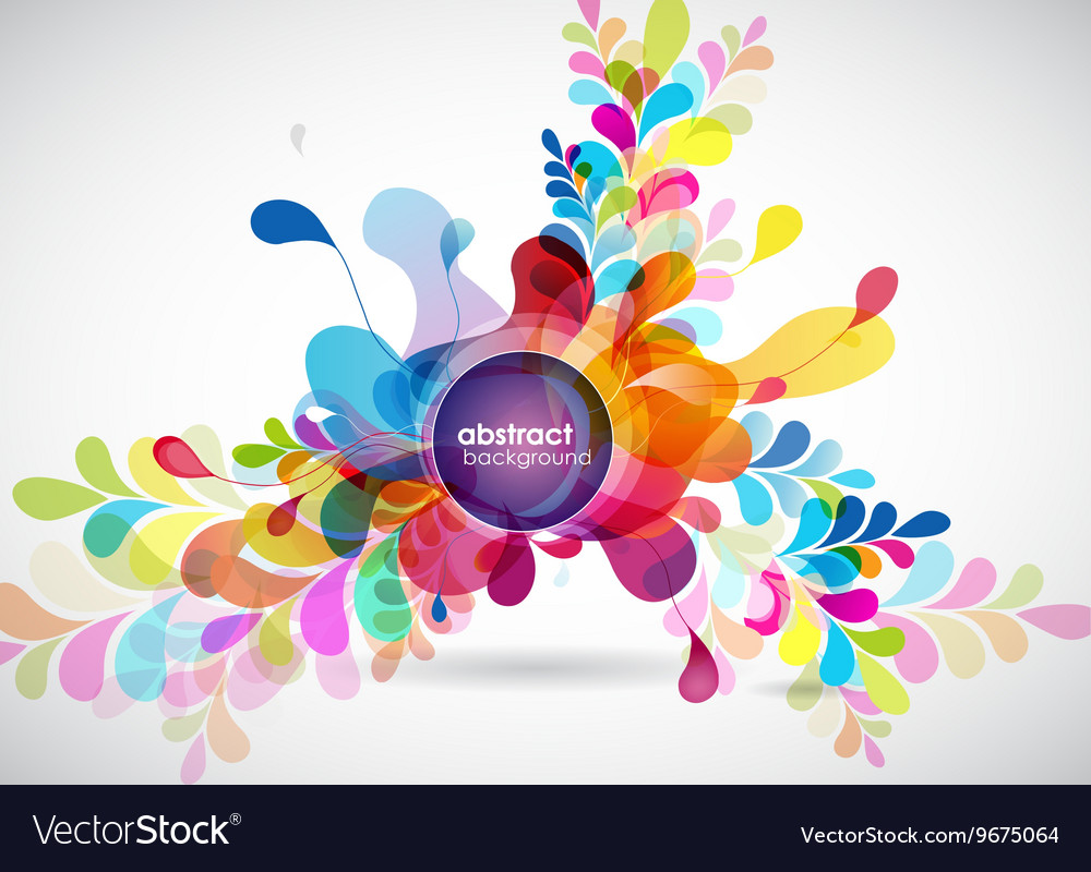 Abstract colored background with leafs and place