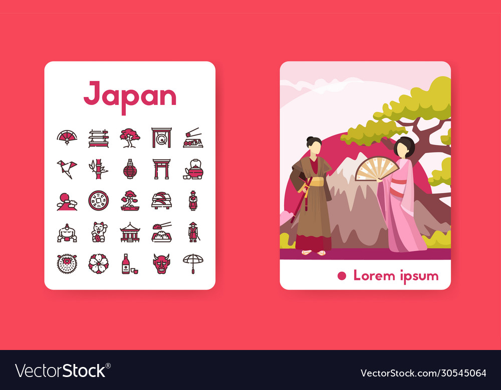 Banner japan with linear icons set