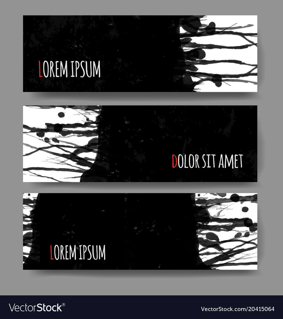 Banners with black grunge splashes on realistic