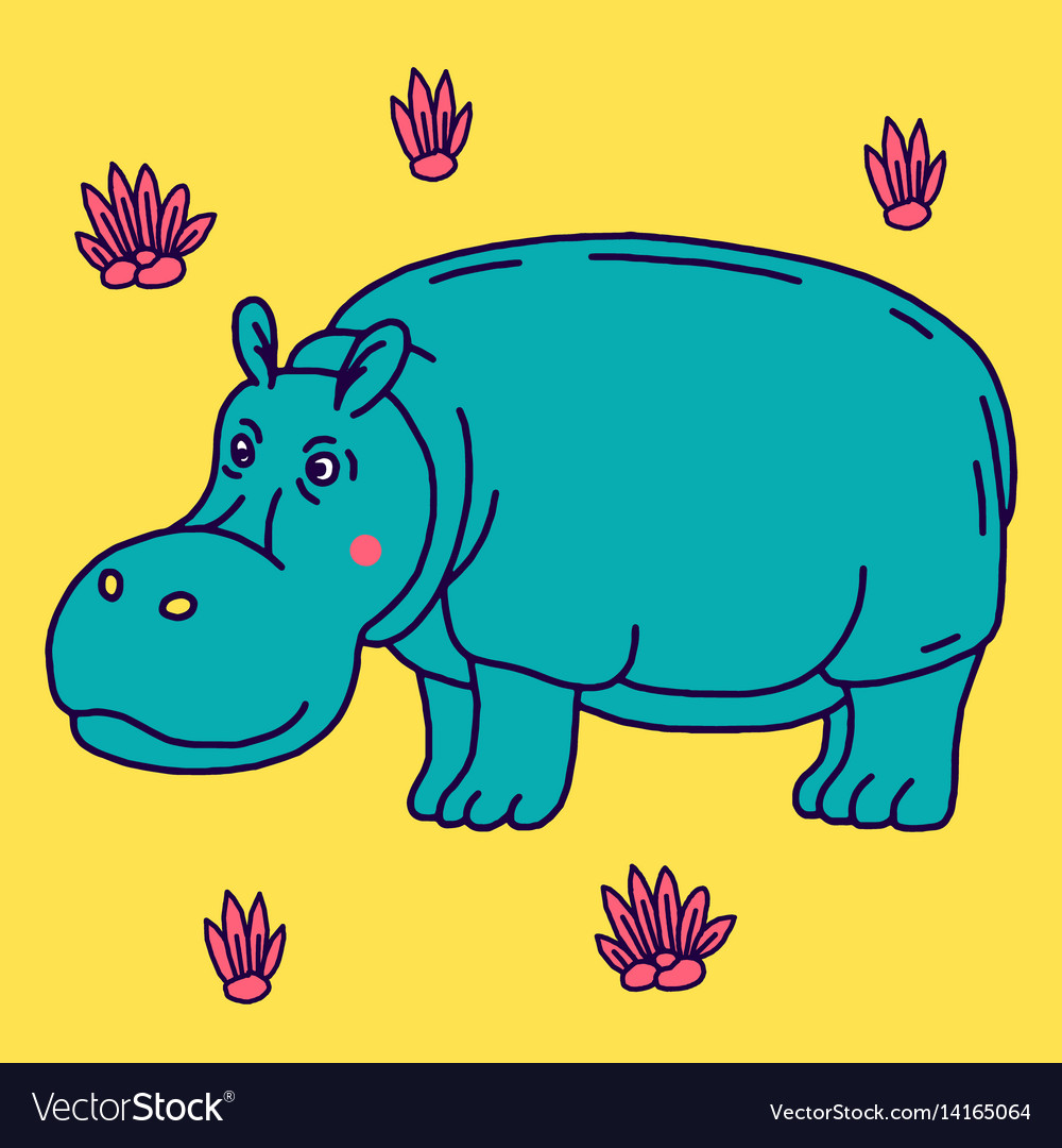 Cartoon animal cute hippo on green backgrounds