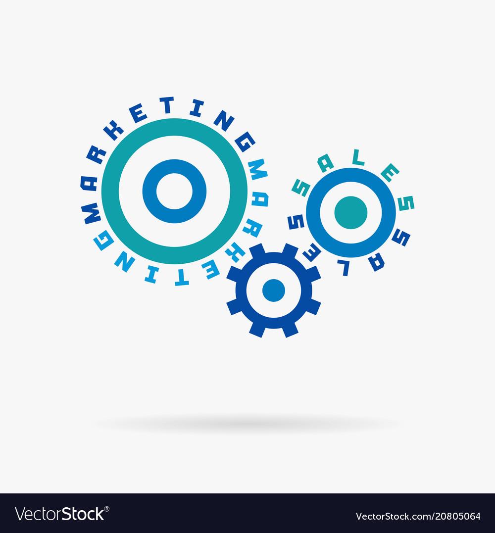 Connected cogwheels marketing sales words