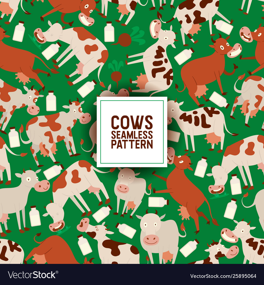 Cute cow eating grass seamless pattern
