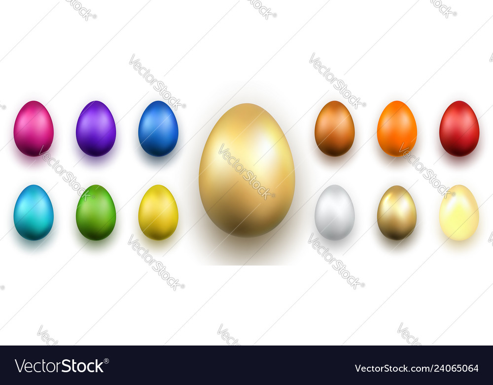 Easter egg 3d icons gold color eggs set isolated