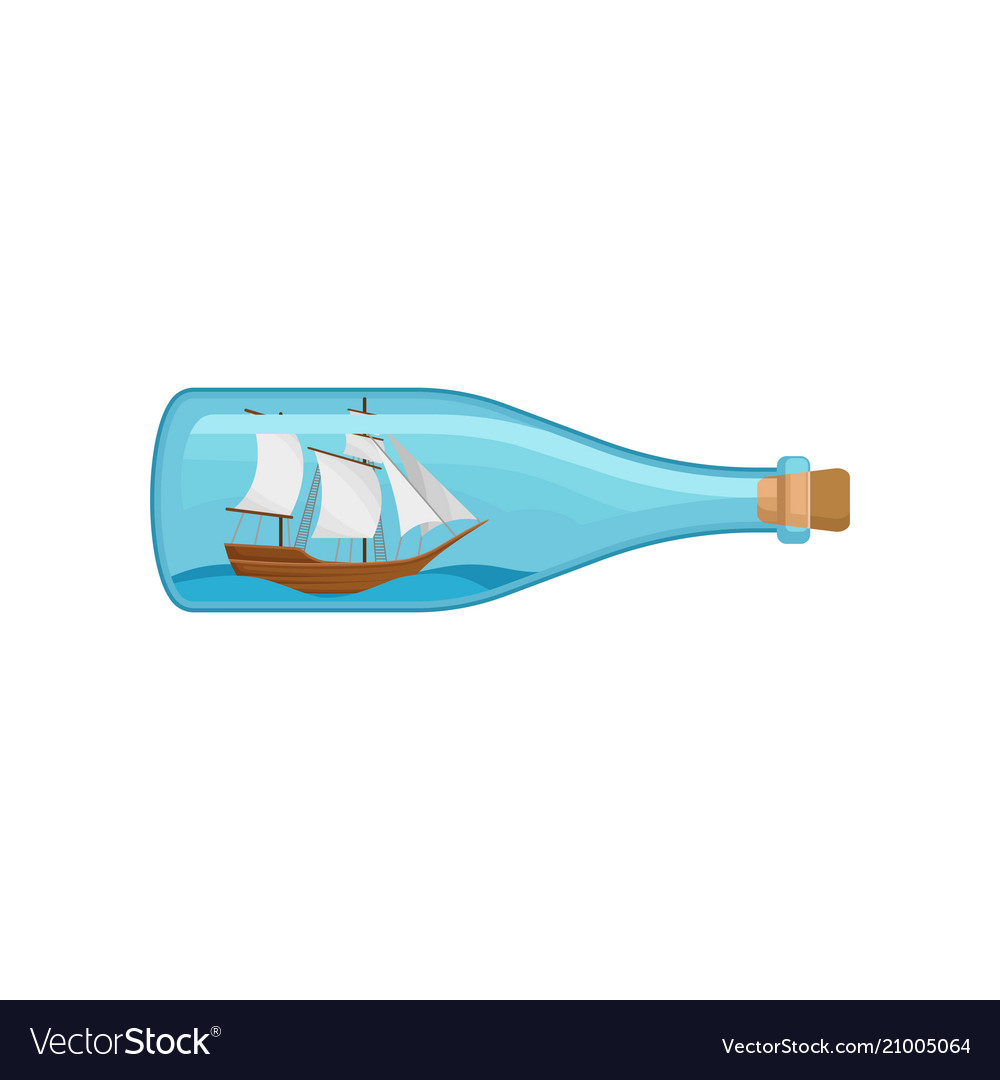 Flat icon of glass bottle with sea ship and