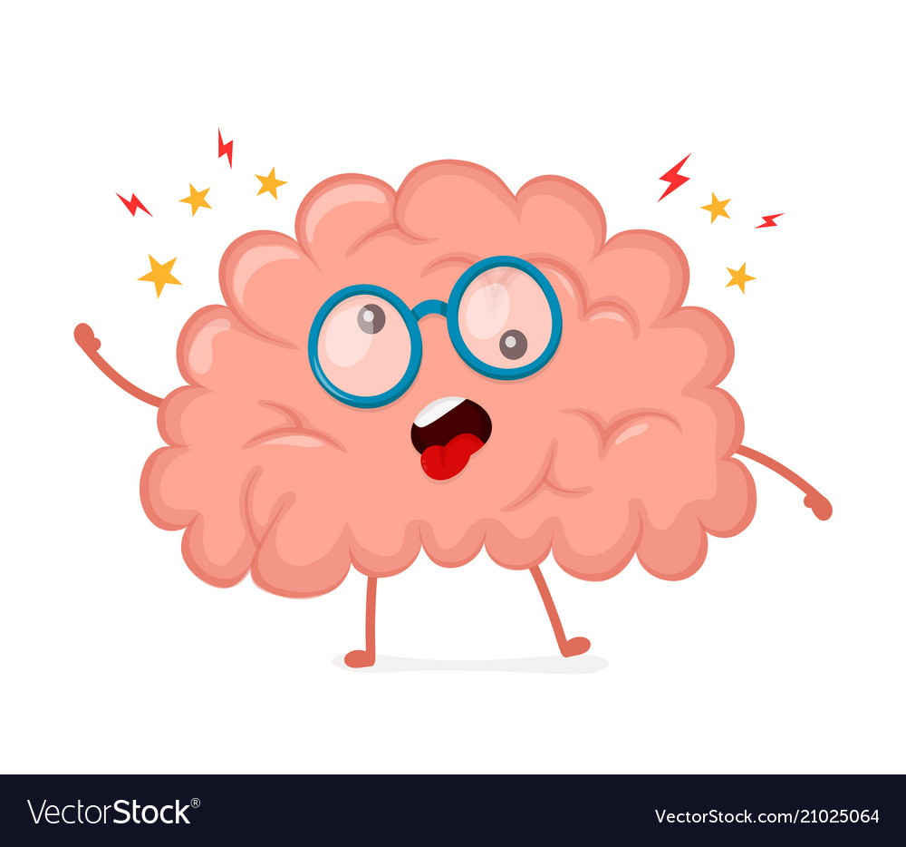 Funny cute crazy mad sick brain Royalty Free Vector Image