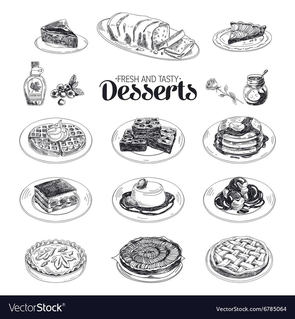 Hand drawn sketch restaurant desserts set