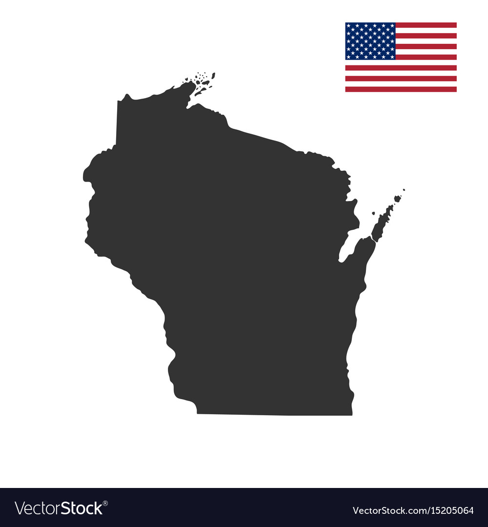 Map Of The Us State Of Wisconsin Royalty Free Vector Image - Wisconsin-on-map-of-us