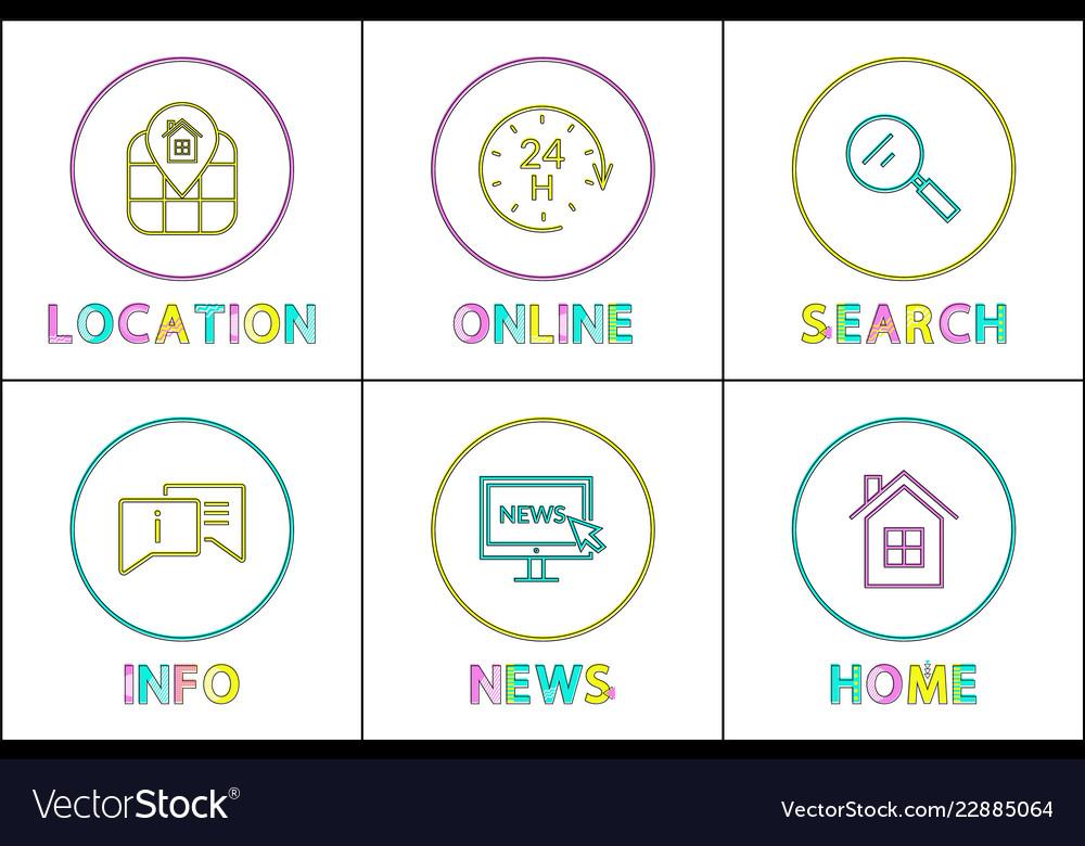 Online services posters set