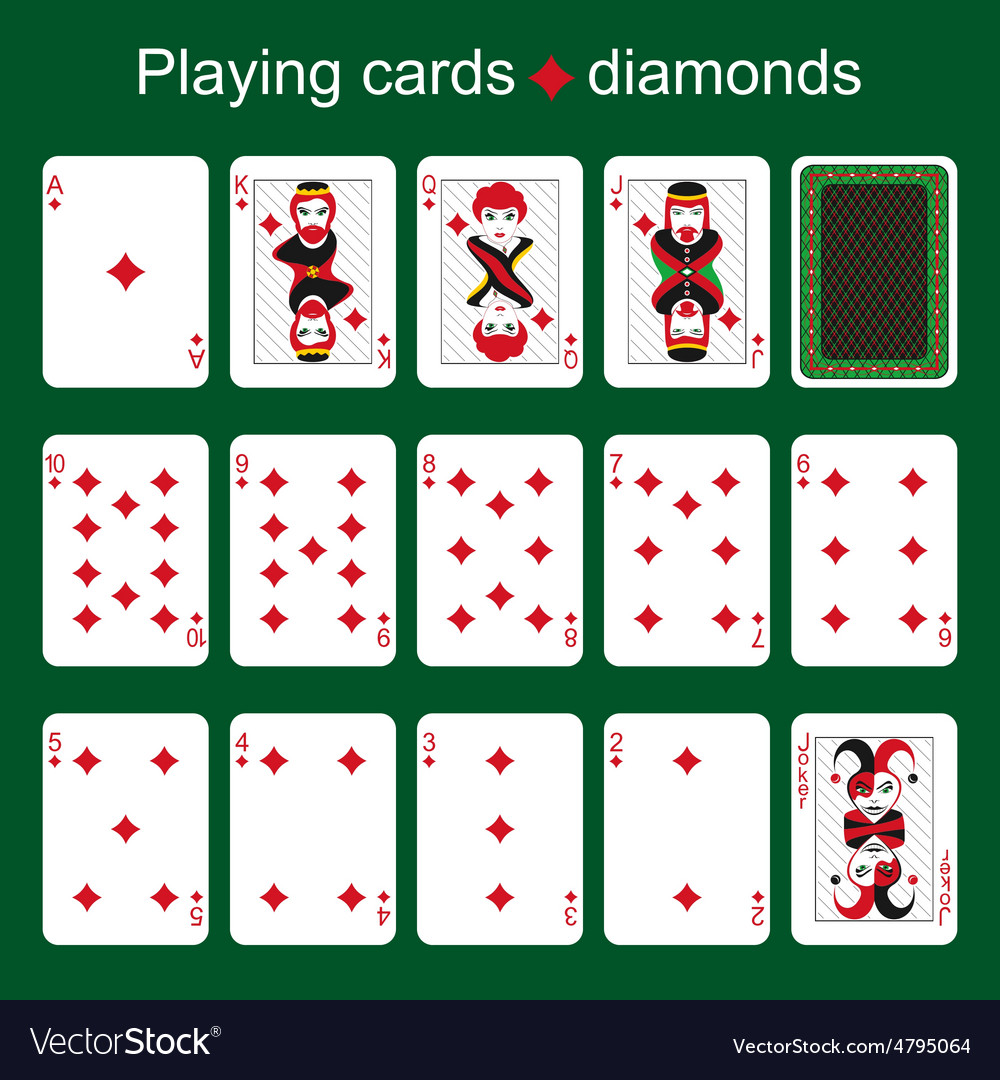 Playing cards Diamonds vector image