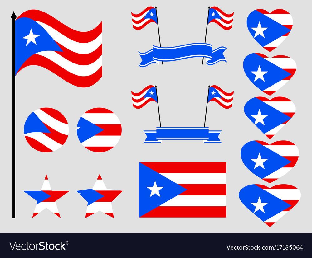 Puerto rico flag set symbols flag in heart