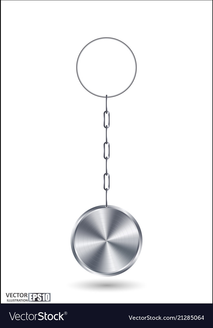 Realistic steel circle 3d key ring template