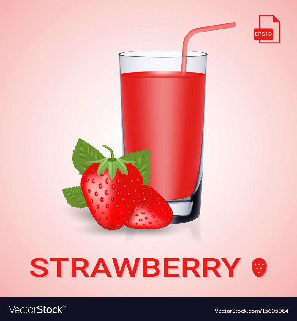 Set of strawberry juice and fresh ripe berries
