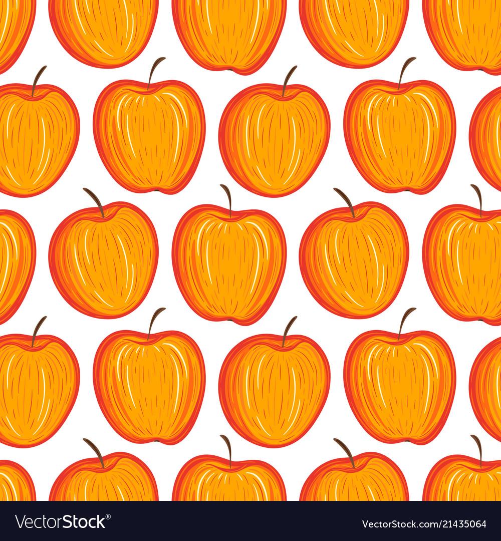 Stylized apples seamless pattern hand drawn