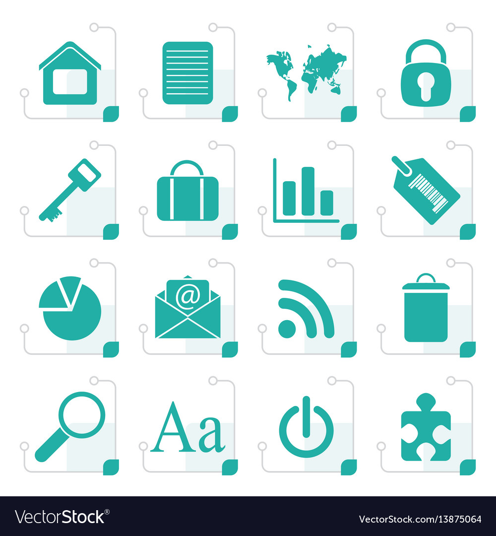 Stylized simple business and internet icons