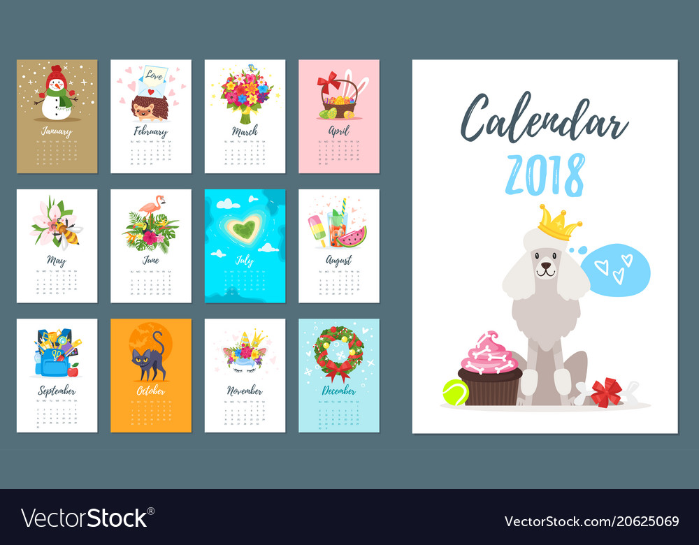2018 dog year monthly calendar