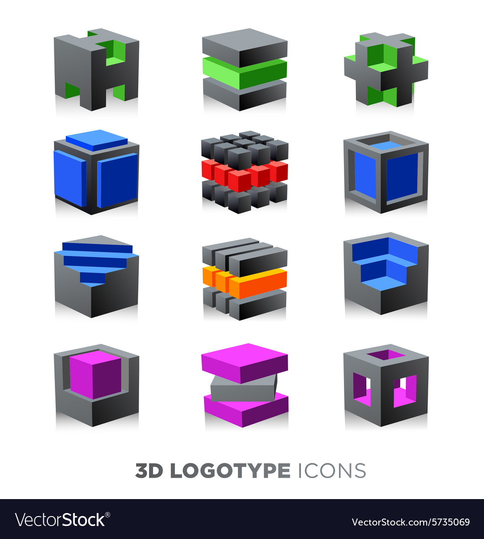 3d abstract cube Logotype set