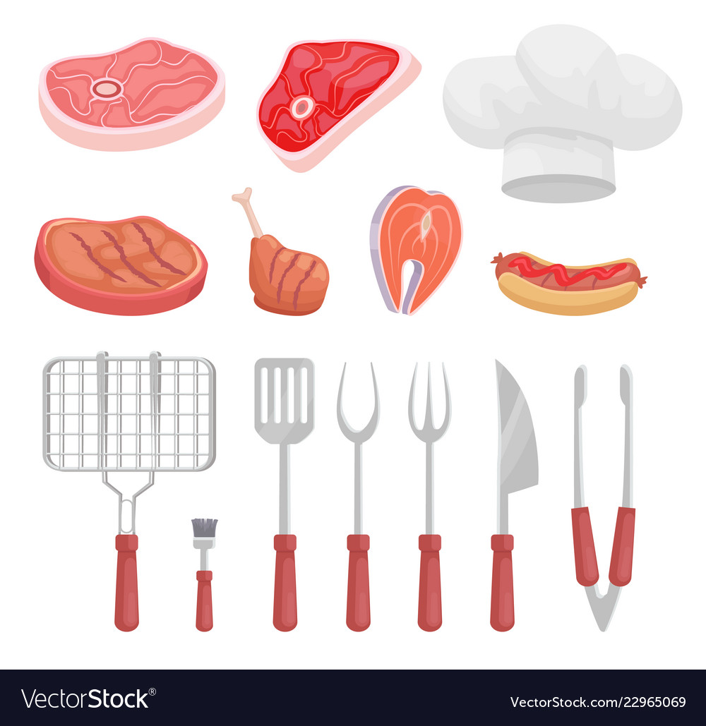 Bbq set barbecue equipment and meat icon