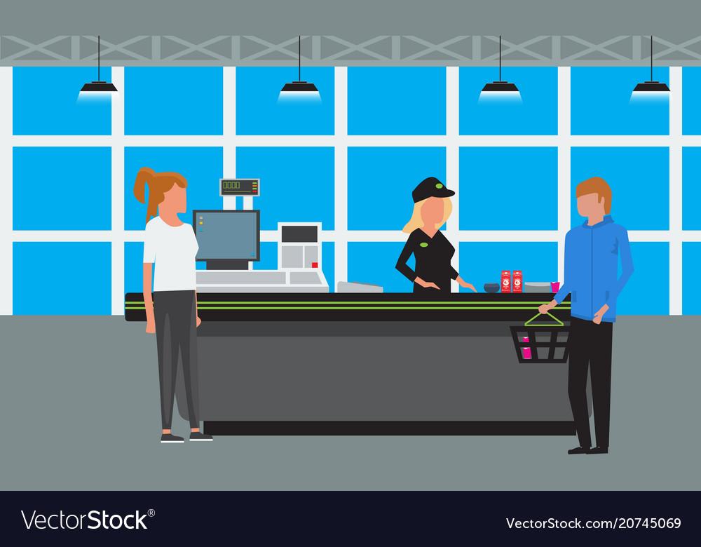 Big supermarket or mall interior scene