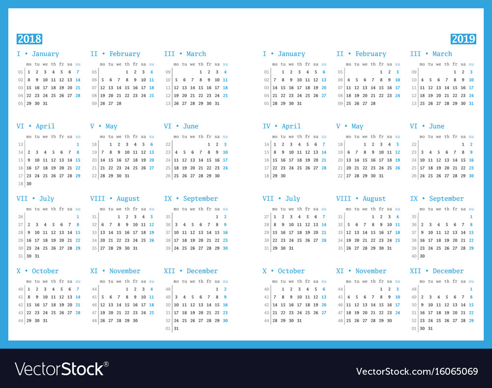 Calendar for 2018 and 2019 year on white vector image