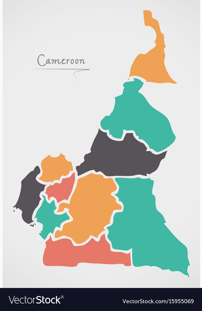 Cameroon map with states and modern round shapes Vector Image