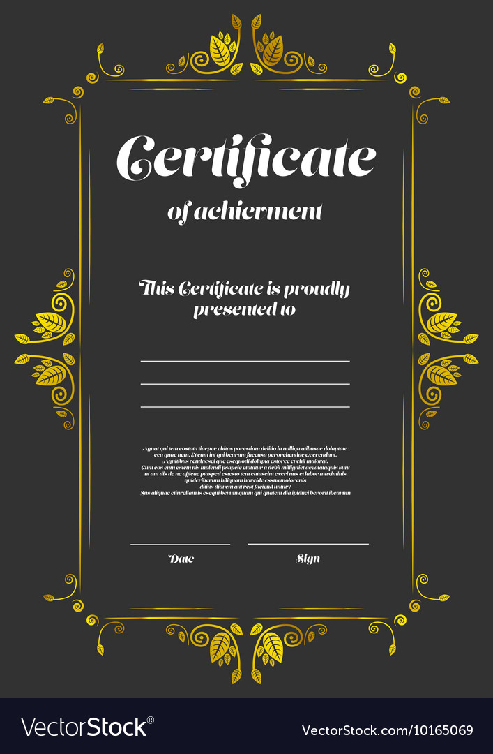 Certificate Of Appearance Template Royalty Free Vector Image