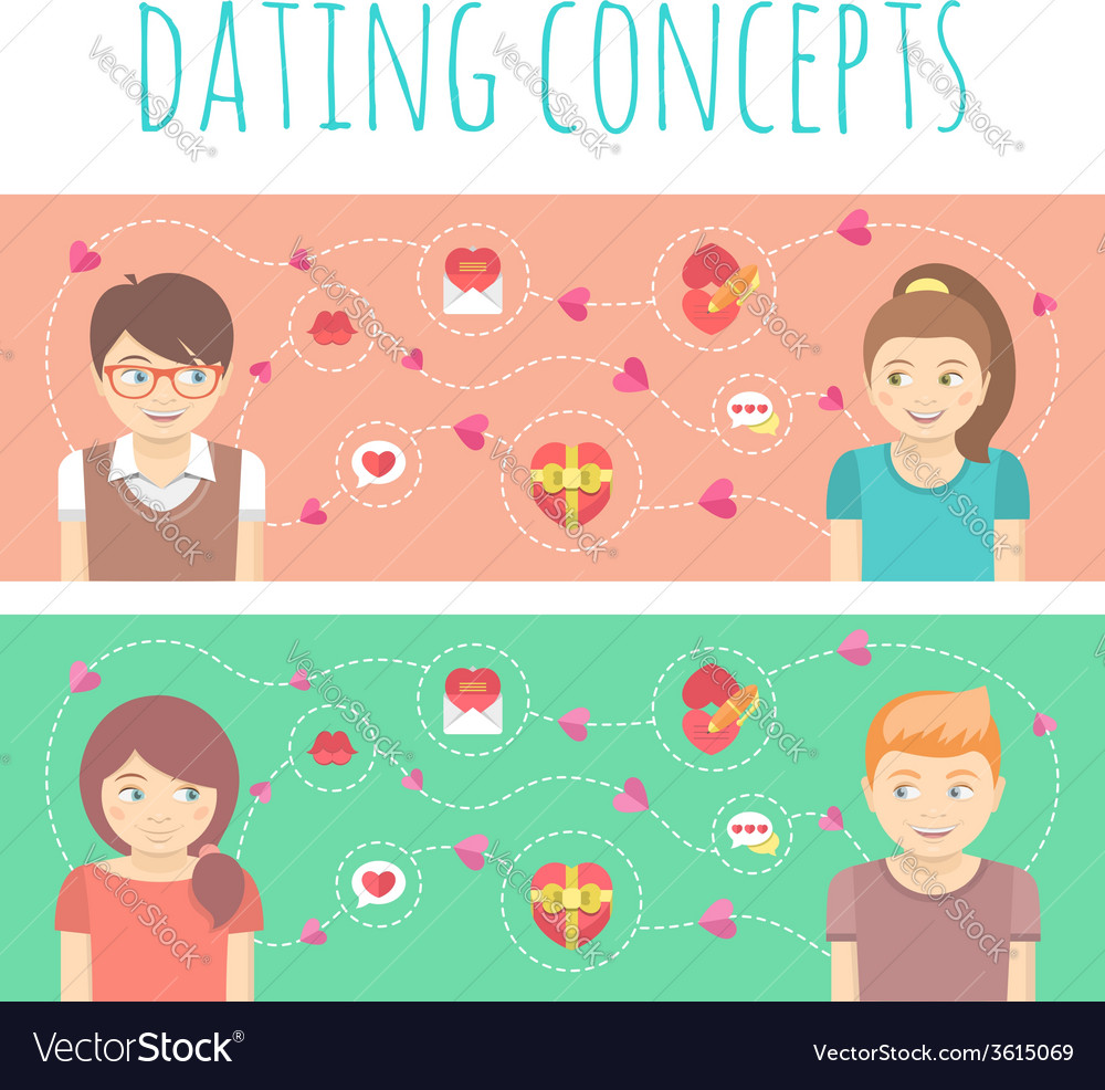 Dating Concepts with Two Happy Couples vector image