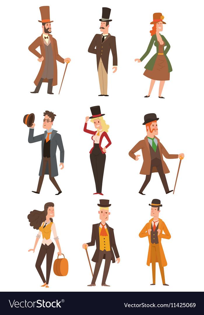 Design victorian people vector image