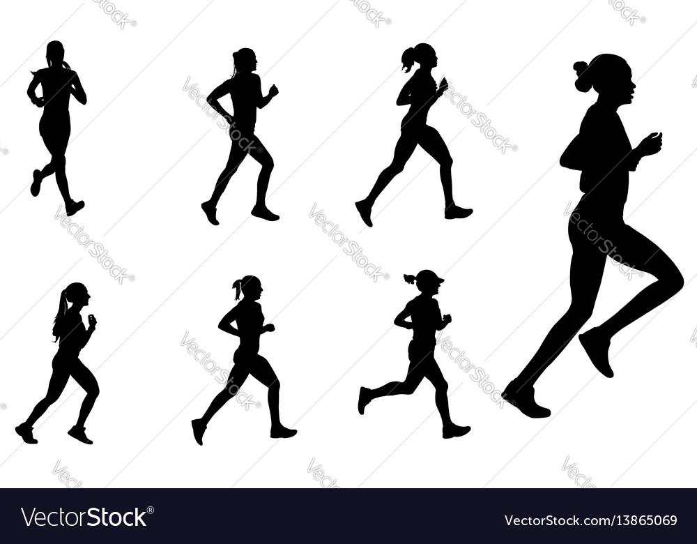 Female marathon runners silhouettes