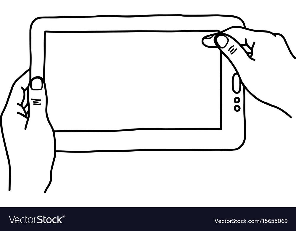 Hands holding digital tablet pc