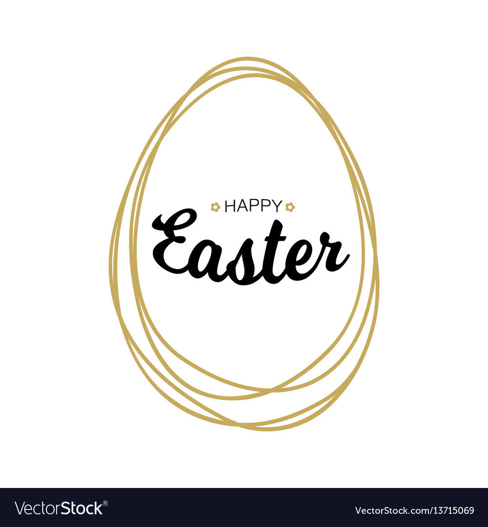Happy easter lettering with scribble egg