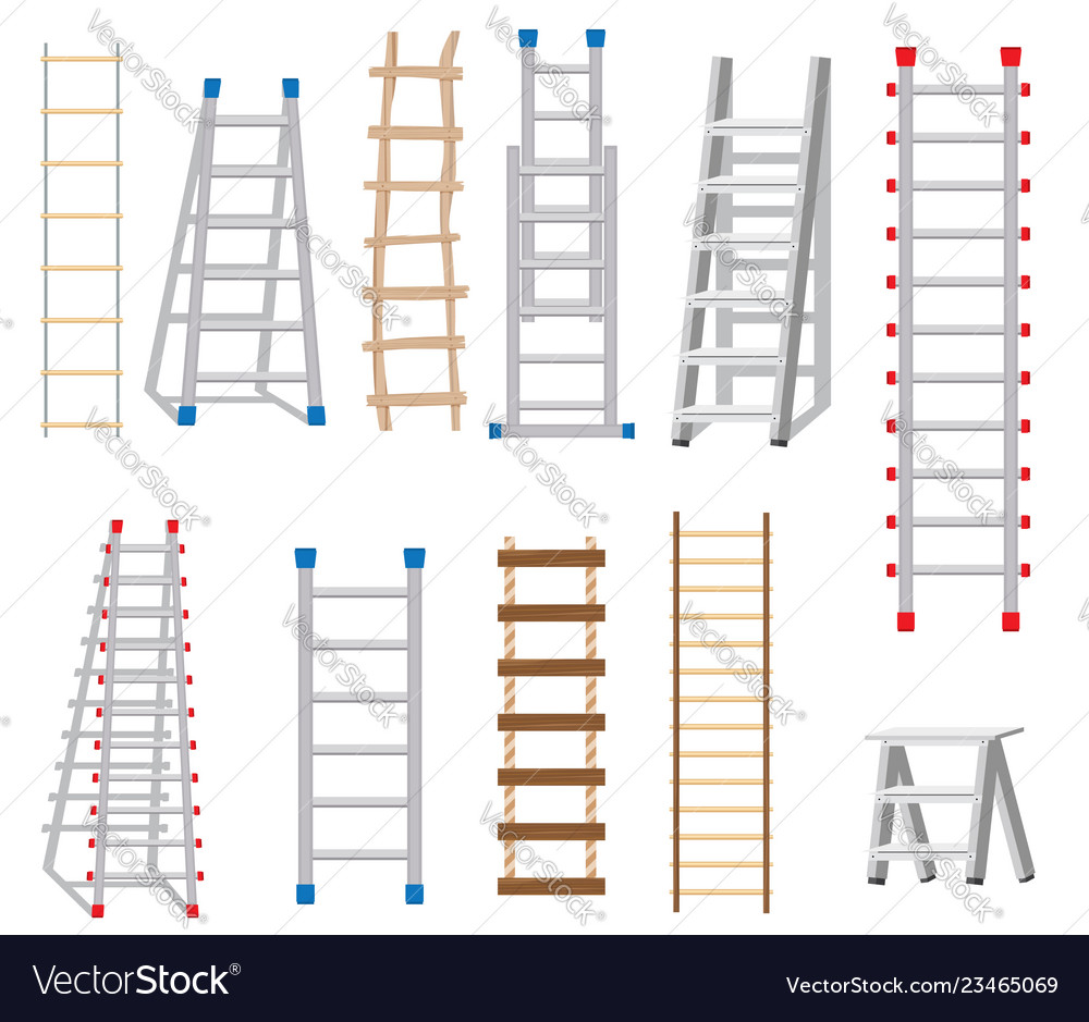 Ladders set made from different materials wood