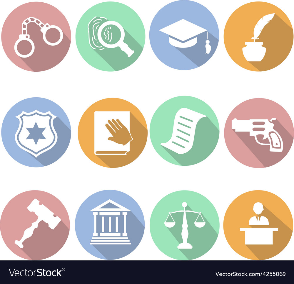 Law and judgment legal justice icon flat set