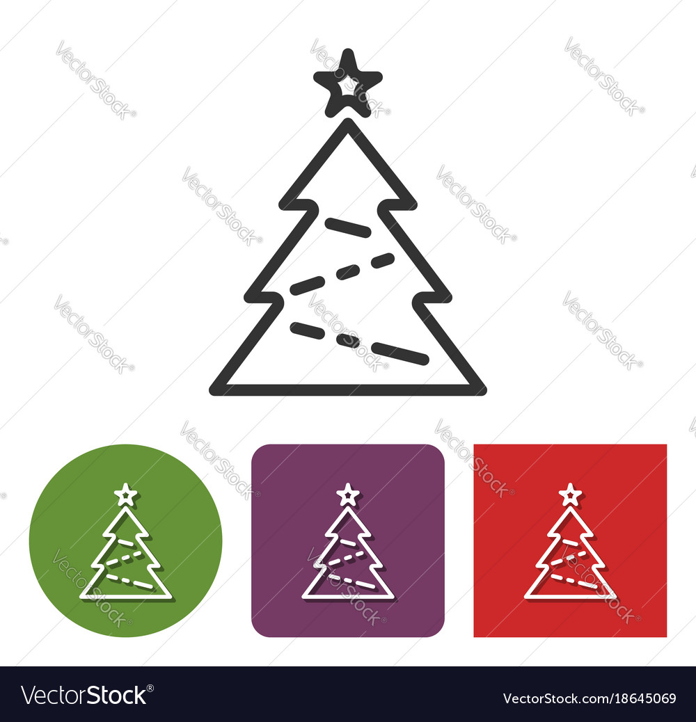 Line icon of christmas tree in different variants