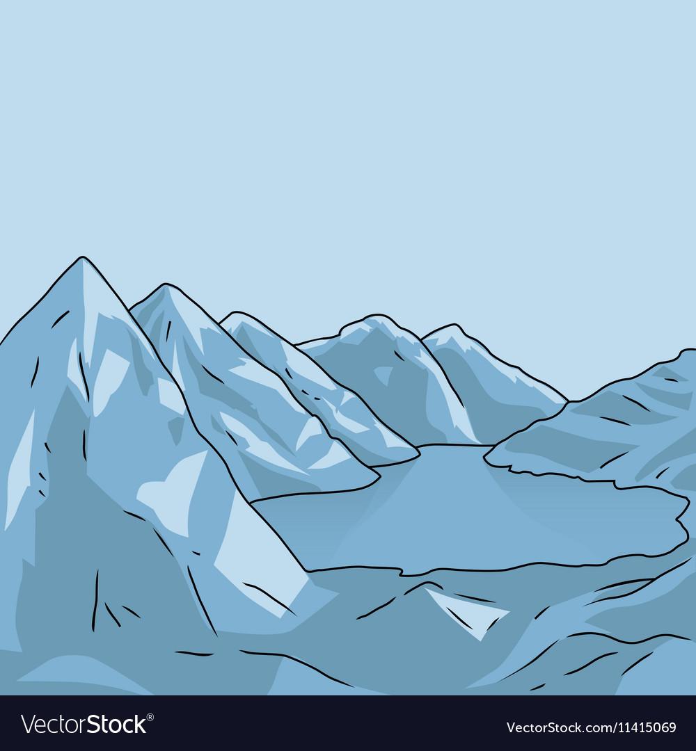 Mountain landscape Glacial lake vector image