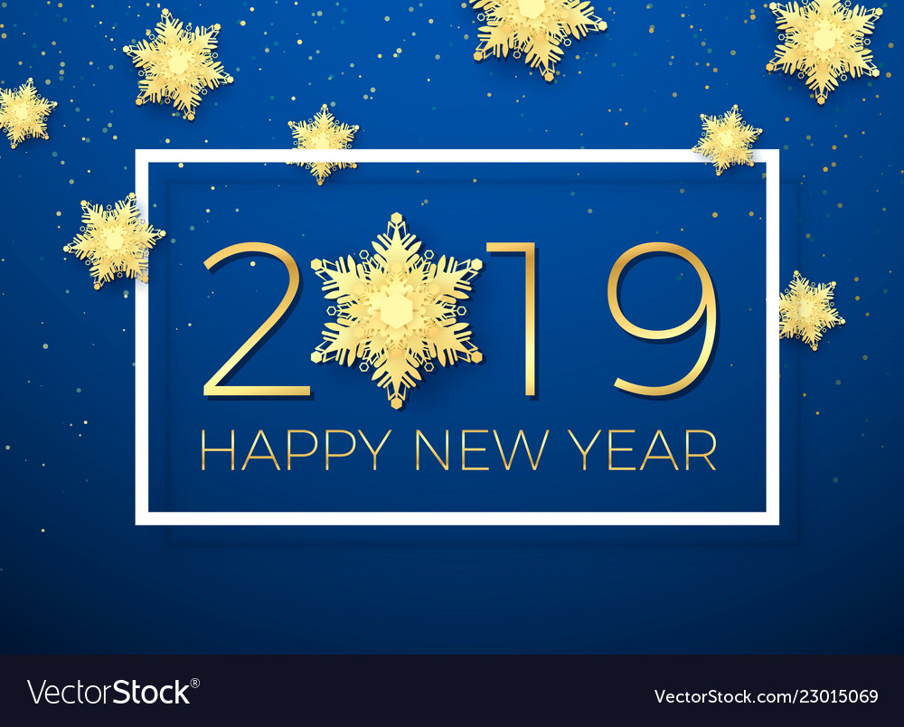 New year greeting card golden text happy new year