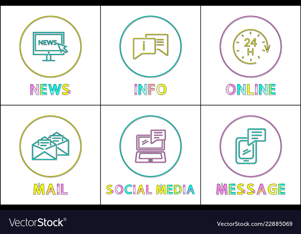 Online news and info mail and message icons