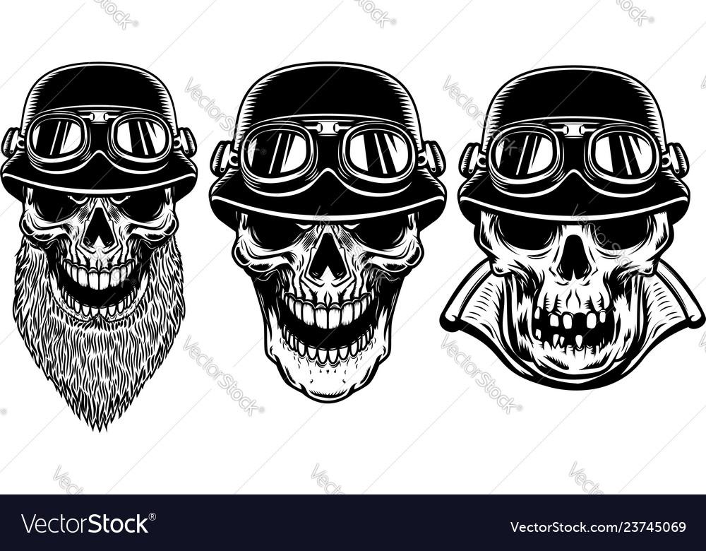 Set of biker skulls on white background design