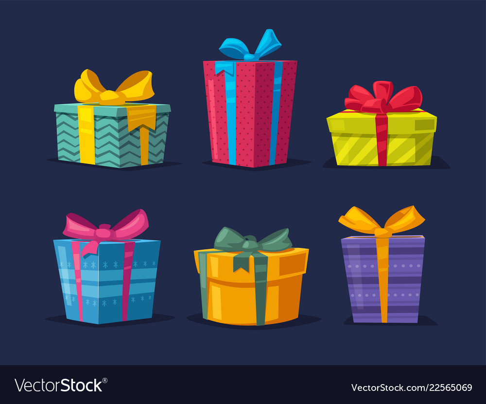 Set of boxes with gifts