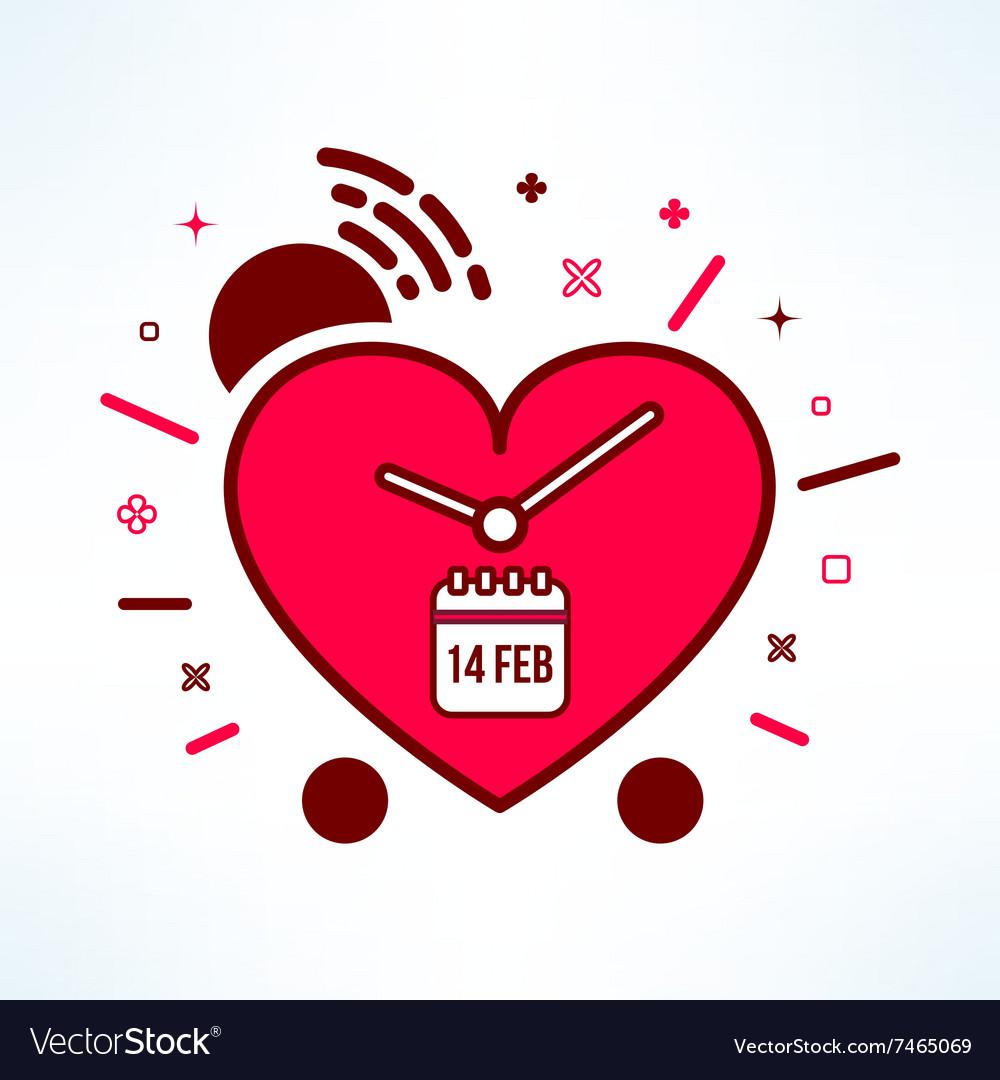 Valentines alarm clock reminder in modern
