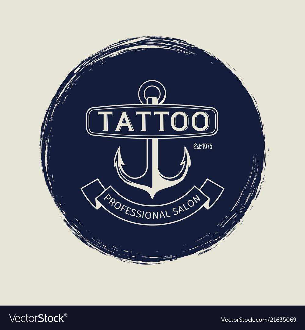 Vintage tattoo salon emblem with anchor