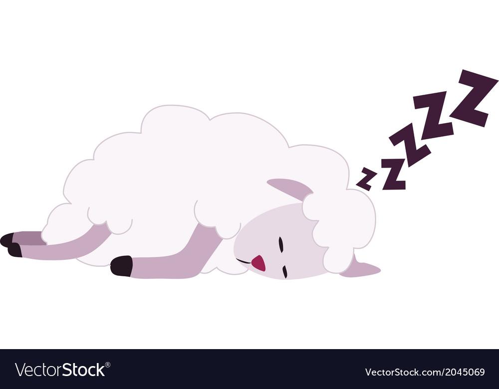 Sheep sleeping. White