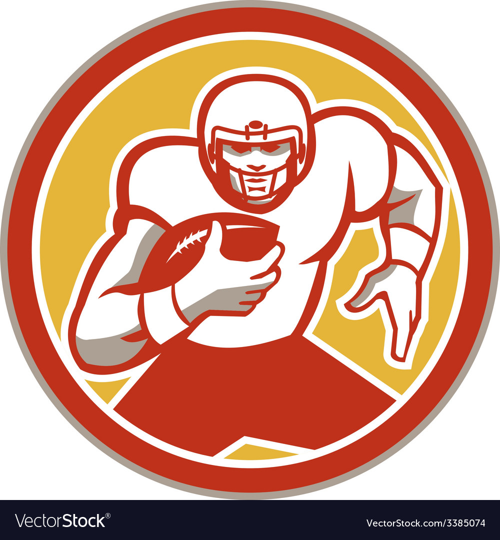 American Football Running Ball Circle Retro vector image