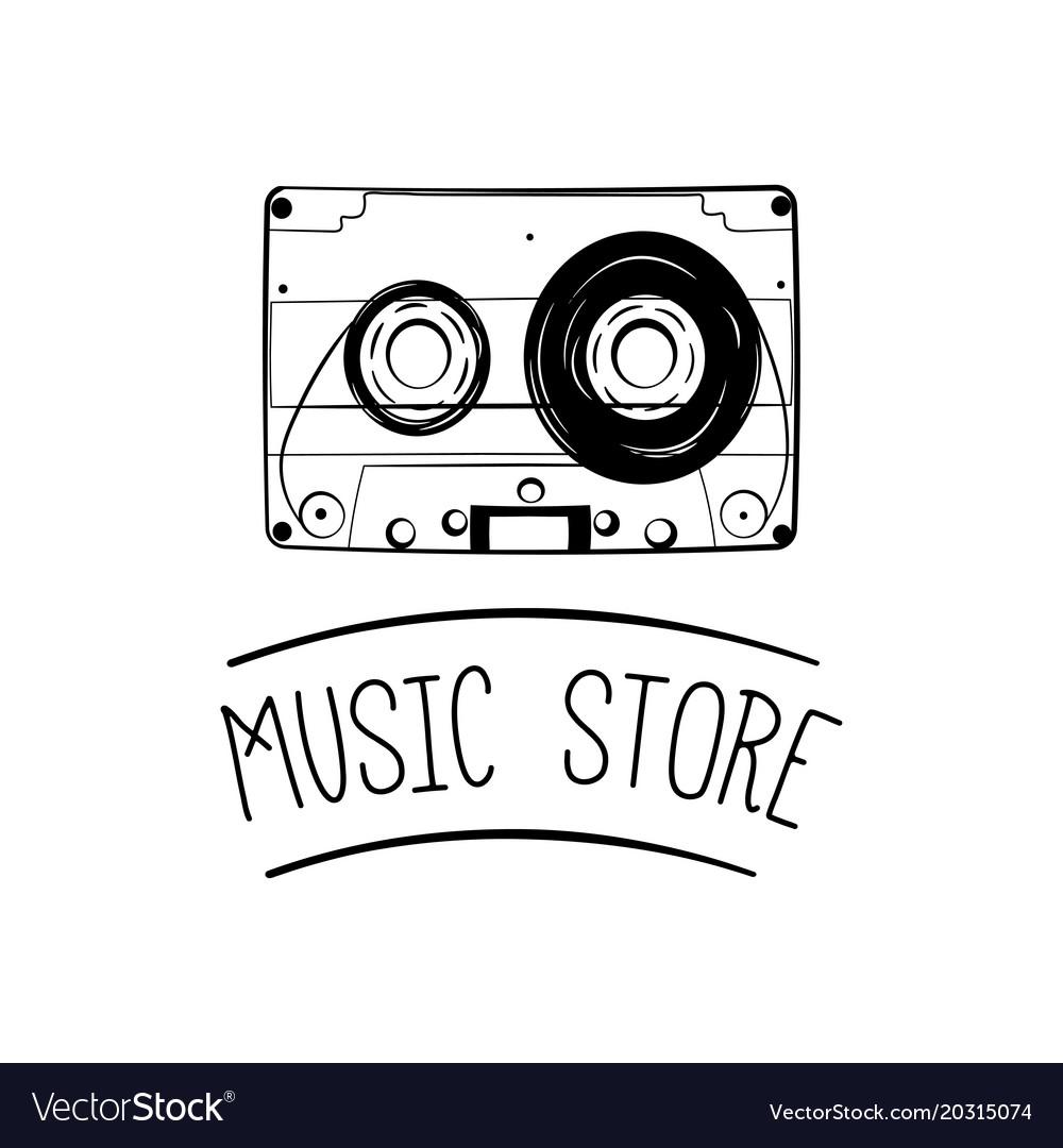 Audio cassette tape icon music store logo