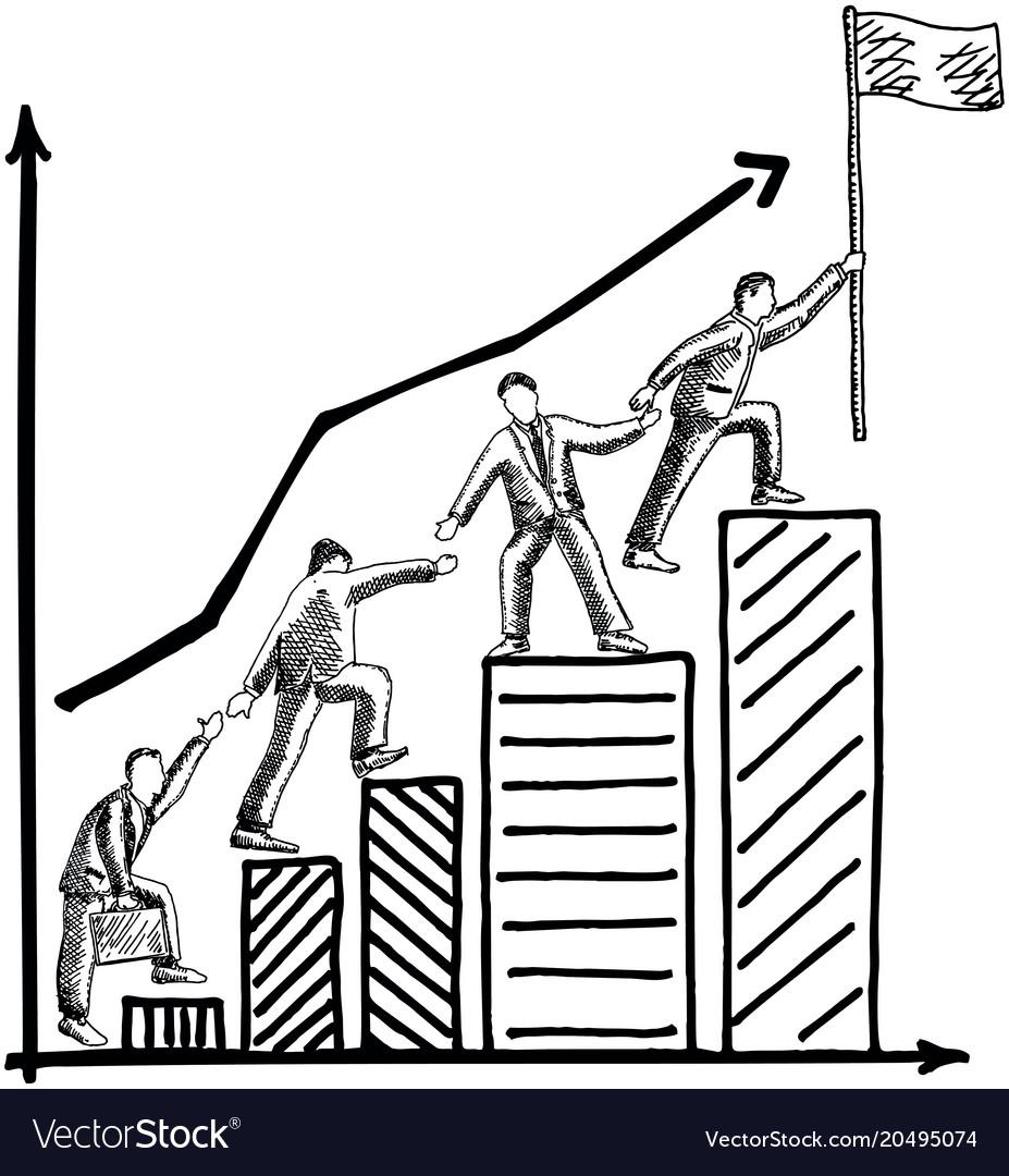 Business teamwork concept hand drawn