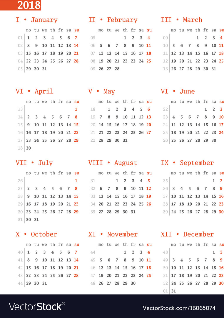 Calendar for 2018 year with week numbers on white