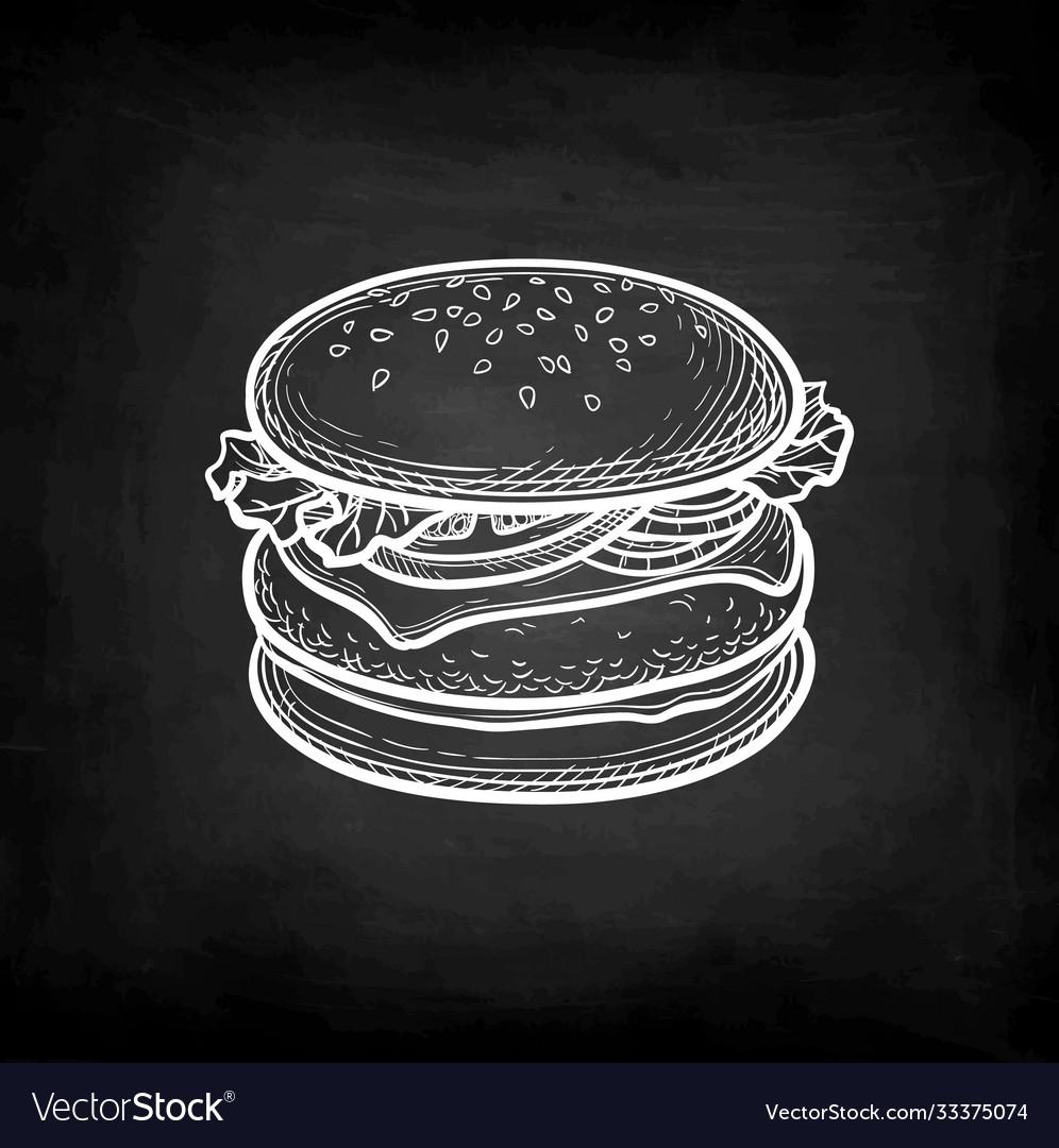 Chalk sketch hamburger