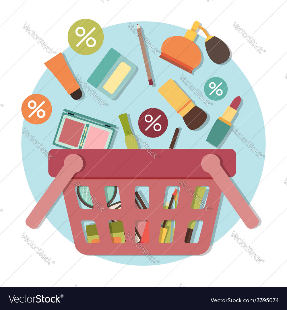 cosmetic products going down into basket vector image