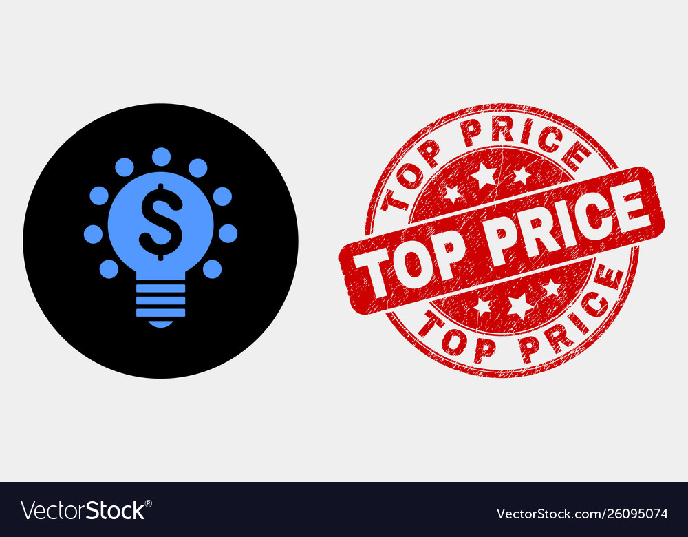 Dollar light bulb icon and distress top